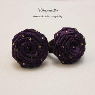 clubzkolka.ru Резинки для волос розы фиолетовые с бисером