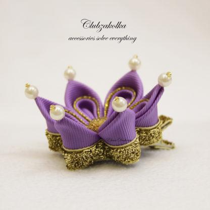 clubzakolka.ry Мини-коронка фиолетовая с золотом на заколке