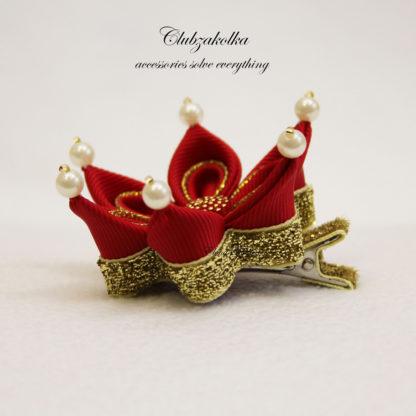 clubzakolka.ru Мини-коронка красная с золотом на заколке