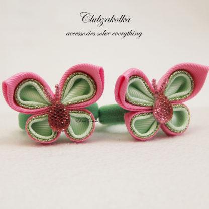 clubzakolka.ru Резинки для волос Бабочки розово-мятные