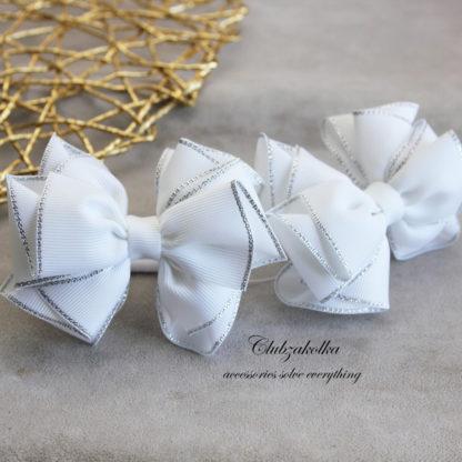 clubzakolka.ru Резинки для волос Банты белоснежные с люрексом (крупные)