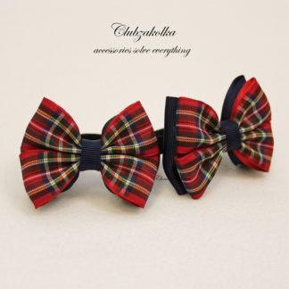 clubzakolka.ru Резинки для волос Банты классические в шотландскую клетку