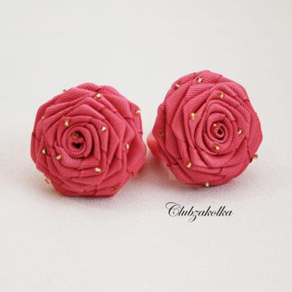 Розы коралловые с бисером