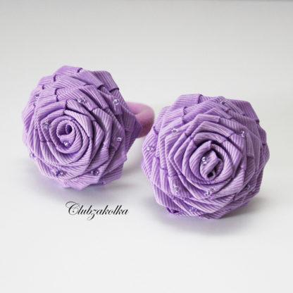 clubzkolka.ru Резинки для волос Розы сиреневые с бисером