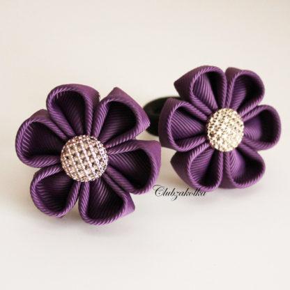 clubzakolka.ru Резинки для волос Цветочки фиолетовые