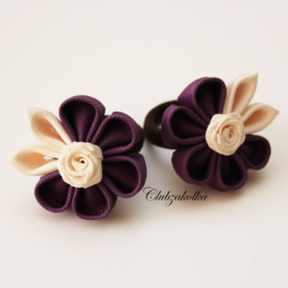 clubzakolka.ru Резинки для волос Цветочки фиолетовые с кремовыми листиками