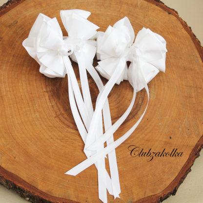 clubzakolka.ru Резинки для волос Банты белые нарядные с длинными лентами