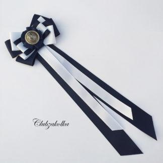 Брошь галстук темно-синий с белым — в интернет-магазине Clubzakolka