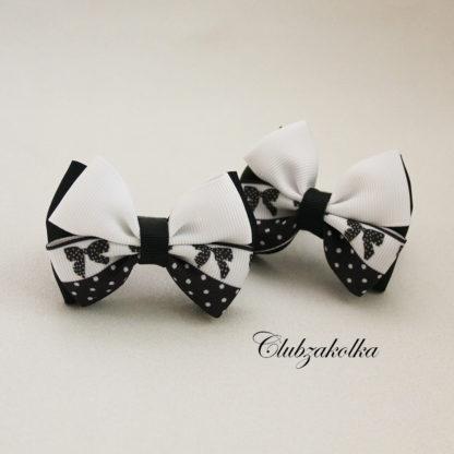 Банты классические чёрно-белые с бантиками — в интернет-магазине Clubzakolka