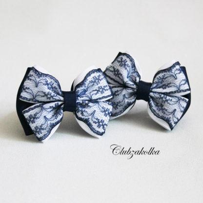 Банты классические сине-белые с кружевом - Clubzakolka.ru